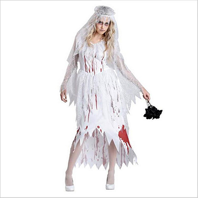 Womens Wedding Skeleton Ghost Zombie Bride Costume Cosplay