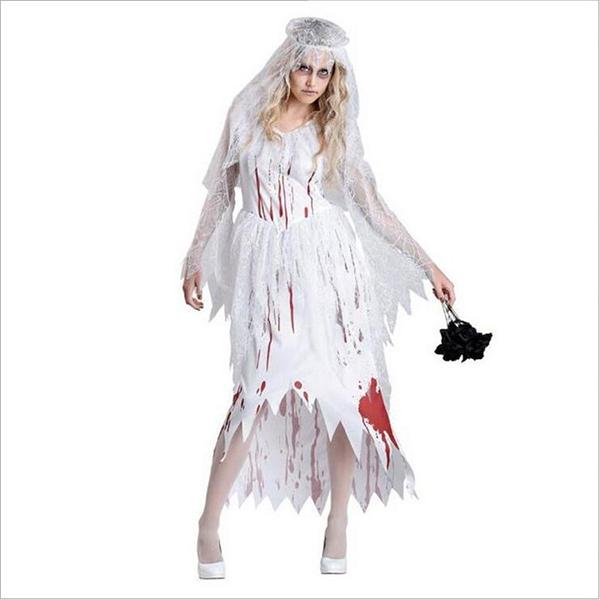 Dame Bryllup Skeleton Ghost Zombie Brud Kostume Cosplay