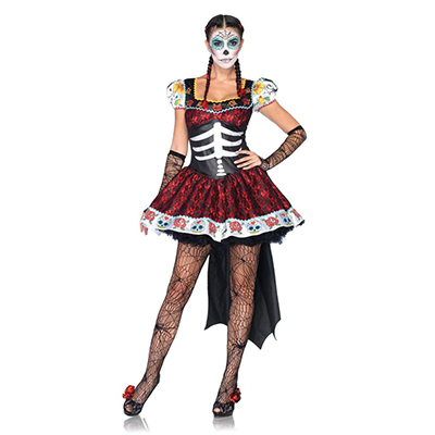 Halloween Costume Skeleton Pattern Floral Hem Skater Dress Cosplay