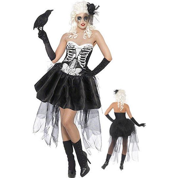 Womens Black White Sexy Skeleton Costume Cosplay