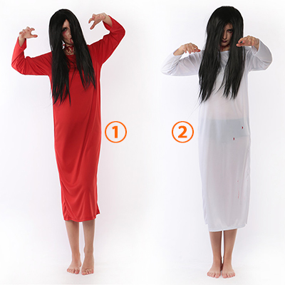 Blanco y Rojo Sadako Ghosts Zombie Disfraz Cosplay Halloween