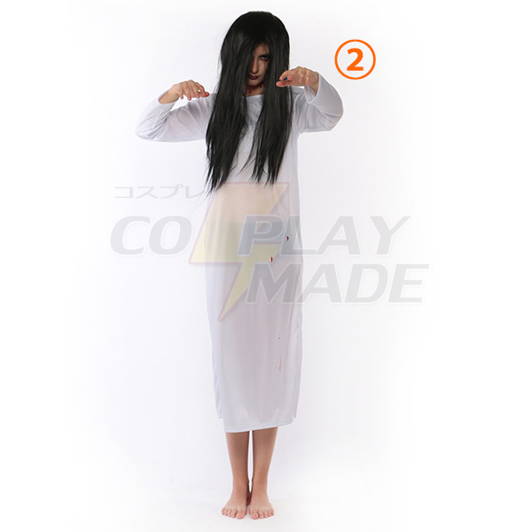 White and Red Sadako Ghosts Zombie Costume Cosplay Halloween