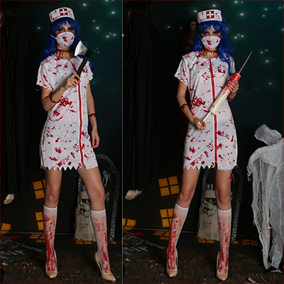 Womens Zombie Queen of Nurse Costume Cosplay Halloween