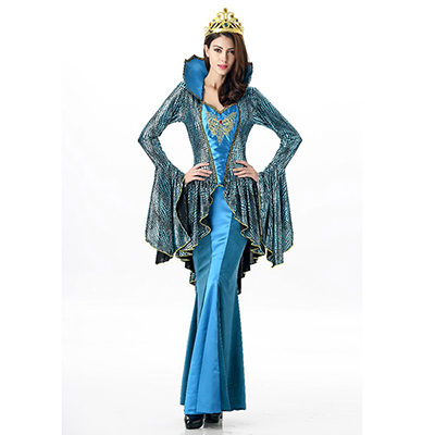 Womens Greek Goddess Costume Blue Hime Long Sleeve Fake 2 Piece Long Dress