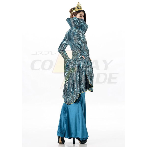 Womens Greek Goddess Costume Blue Hime Long Sleeve Fake 2 Piece Long Dress