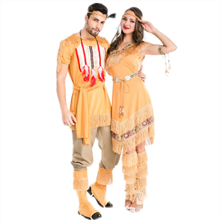 Couples Costumes Native American Yellow Indian Costume Cosplay Outfits