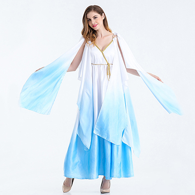 Mulheres Open Sleeve Ancient Grécia Goddess Fantasias Cosplay Light Blue