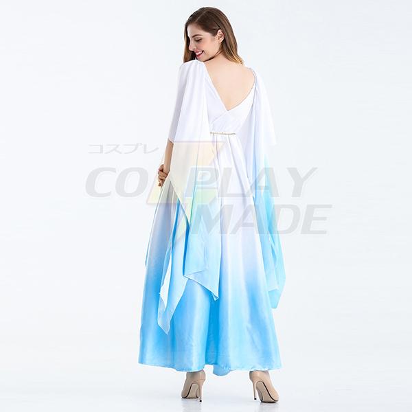 Womens Open Sleeve Ancient Greece Goddess Costume Cosplay Light Blue