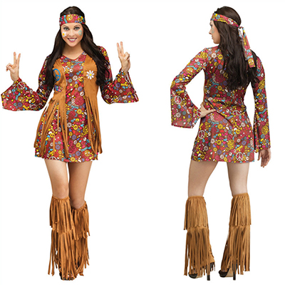 Dame Peace Love Hippie Kostume Cosplay Halloween Fastelavn