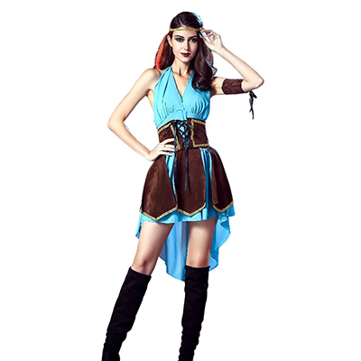 Kvinners Celtic Warrior Kostymer Cosplay Halloween Karneval