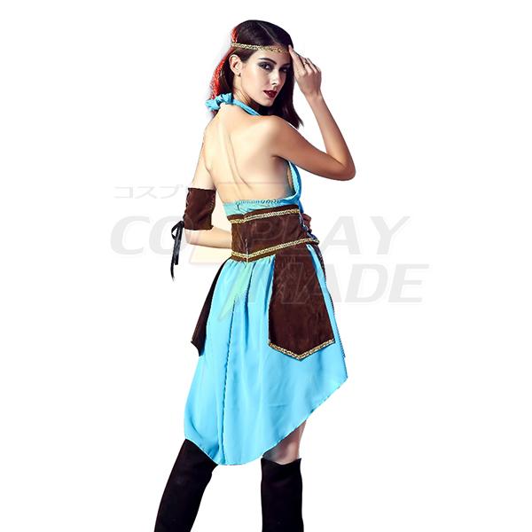 Dame Celtic Warrior Kostume Cosplay Halloween Fastelavn