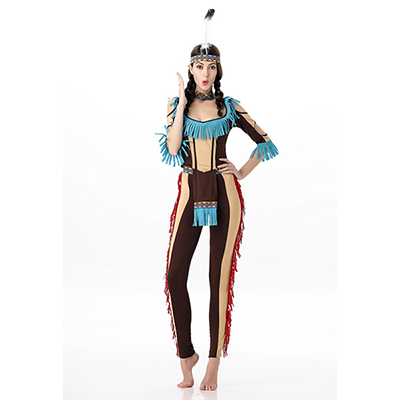 Dame Tribal Native American Kostume Cosplay Halloween Fastelavn