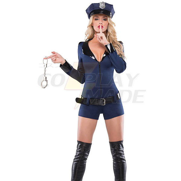 Dame Sexet Politi Cop Uniform Halloween Kostume Cosplay Fastelavn