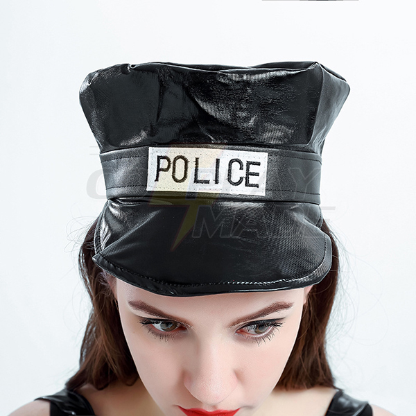 Sexy Movie Police Black Solid Top Skirt Hat Costume Cosplay Halloween