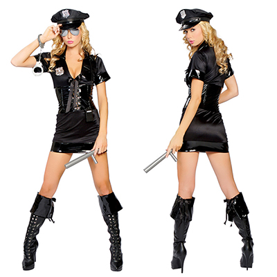 Polyester Carnival Police Uniform with Handcuff and Spontoon Costume Cosplay