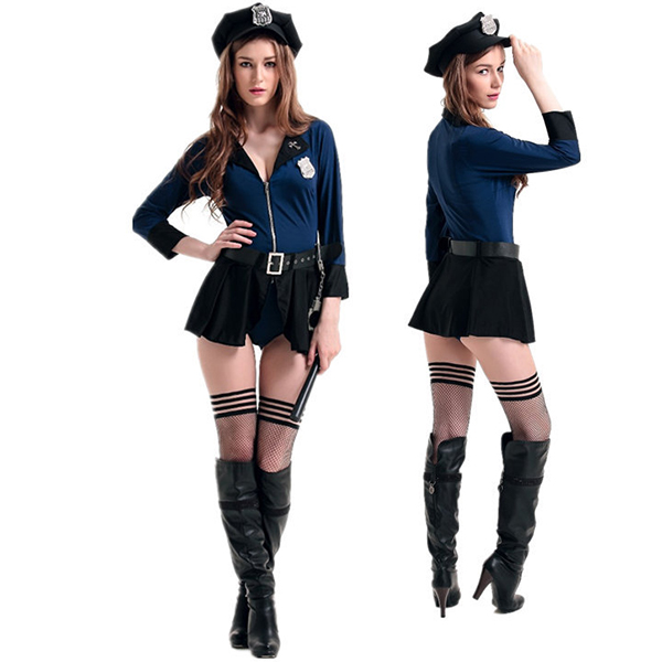 Sexy Damen Polizei Officer Naughty Cop Kostüme with Hut Cosplay Kostüme