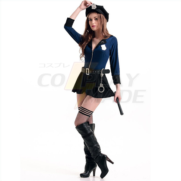Sexy Womens Police Officer Naughty Cop Costume with Hat Cosplay