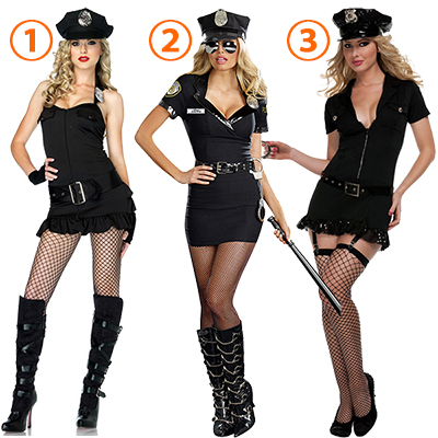 Kvinners Officer Patdown Cheeky Politi Kostymer Cosplay Halloween