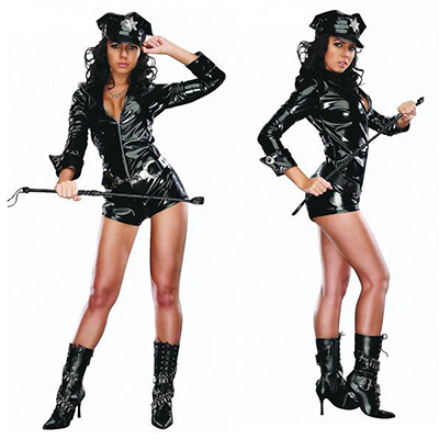 Adult Sexy Leather Cop Police Costume Cosplay Halloween