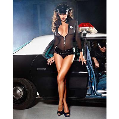 Sexy Mesh Negro Cop Policía Disfraz Cosplay Halloween Carnaval