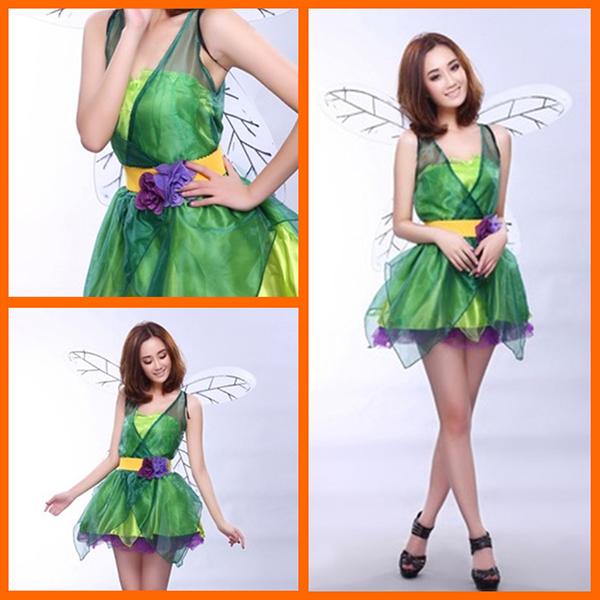 Voksen Grøn Forest Elf Eventyr Kostume Cosplay Halloween Fastelavn