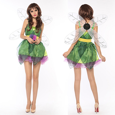 Womens Sexy Green Forest Elf Fairy Costume Cosplay Halloween