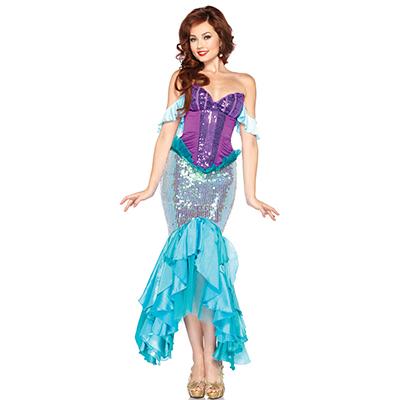 Seksikäs Naisten Disney Ariel asu Cosplay Halloween Naamiaisasu