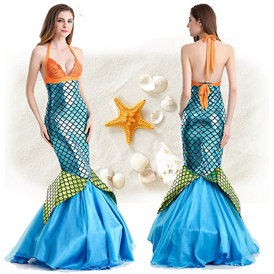 Sexy Mermaid Womens Blue Long Bodycon Skirt Costume Cosplay
