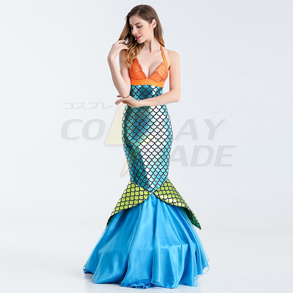 Sexy Mermaid Womens Blue Long Bodycon Skirt Costume Cosplay