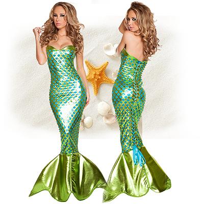 Grün Meerjungfrau Tiefer V Backless Prinzessin Polyester Kostüme Cosplay Kostüme