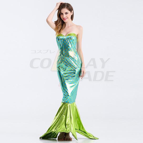 Green Mermaid Deep V Backless Princess Polyester Costume Cosplay