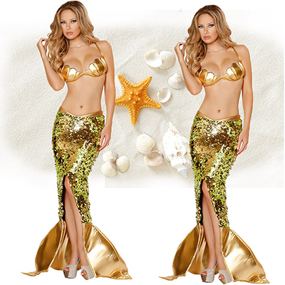 Gold Zeemeermin Diepe V Backless Prinses Kostuum Cosplay Halloween