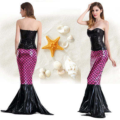 Deep Purple Mermaid Deep V Backless Princess Polyester Costume Halloween