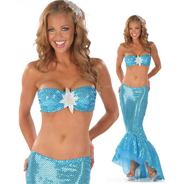 Dame Fancy Sequins Sexet Halloween Havfrue Blå Kostume Cosplay