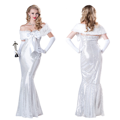 Elegant Vrouwen Wit Shiny Film Star Kostuum Cosplay Halloween
