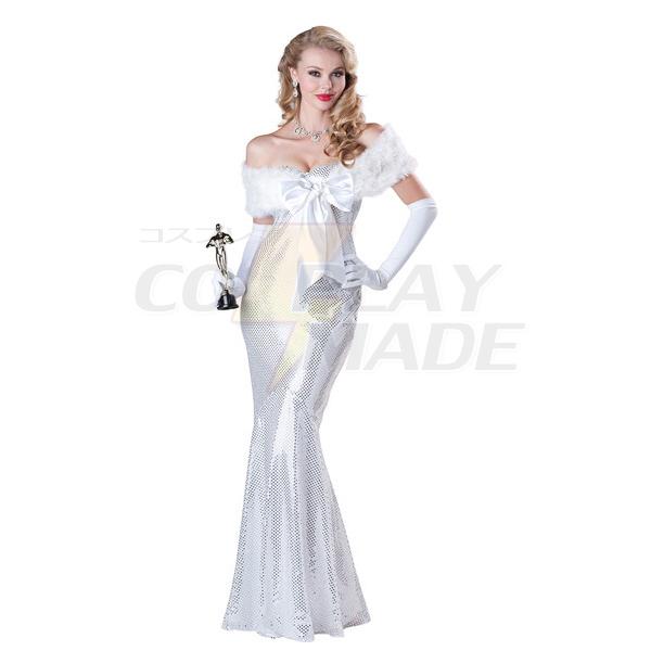 Elegant Womens White Shiny Movie Star Costume Cosplay