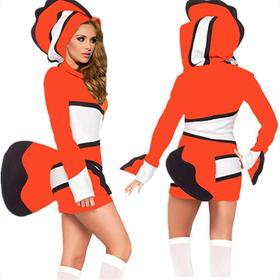 Sexy Cozy Red Fish Costume Cosplay Halloween