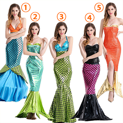 Popular Mermaid Deep V Backless Princess Polyester Costume Cosplay