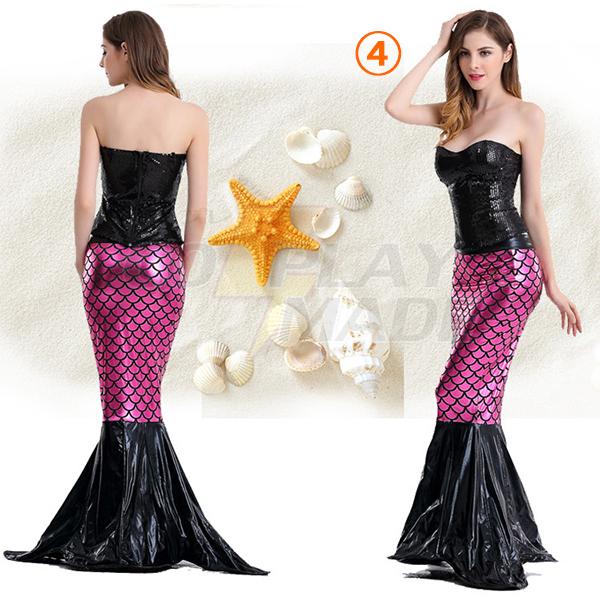Popular Mermaid Deep V Backless Princess Polyester Costume Cosplay
