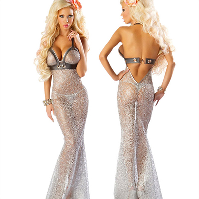 Silver Mermaid Pleasure Apparel Cosplay Halloween Party Costume