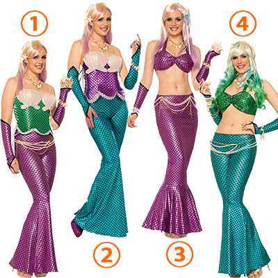 Adult Ladies Mermaid Costume Sea Siren Flared Trousers Cosplay