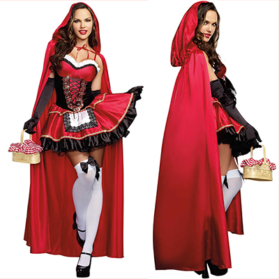 Le Petit Chaperon Rouge Robes Longues Cosplay Costume Halloween Carnaval