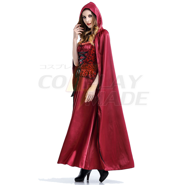 Fairy Tale Little Red Riding Hood Long Dress Christmas Costume