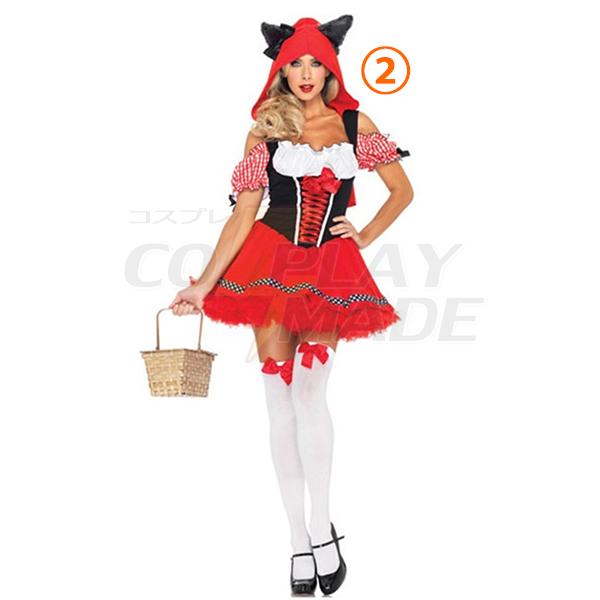 Sexet Den lille Rødhætte Kort Kjoler Halloween Kostume Fastelavn