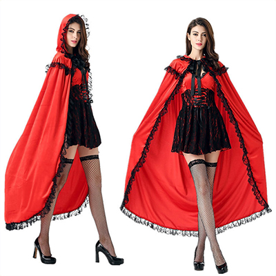 Adulte Le Petit Chaperon Rouge Princesse with Cloak Danse Costume Carnaval