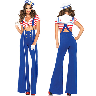 Azul Rojo 3 PC. Ship Shape Marino Disfraz Cosplay Carnaval
