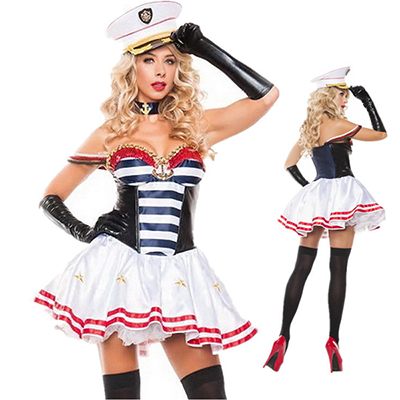 Patriotic Mistress Matroos Kostuum Flirty Matroos Cosplay