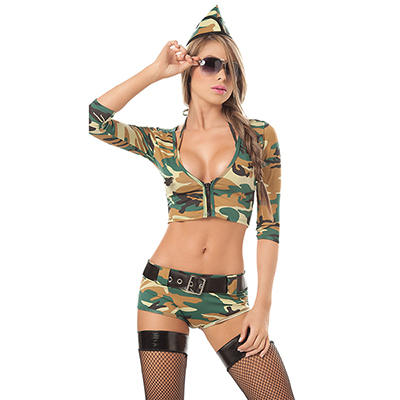 Sensual 4PC Military Fantasias & Chapéu Cosplay Halloween Carnaval