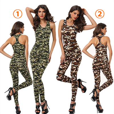 Dames Army Tight Fit Bodysuit Catsuit Jumpsuits Clubwear Cosplay Kostuum