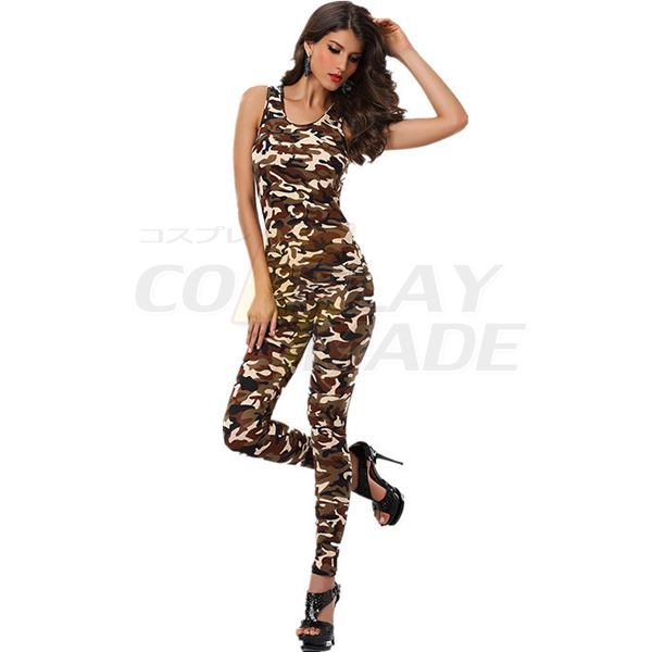 Damer Sexet Army Tight Fit Bodysuit Catsuit Jumpsuit Clubwear Cosplay Kostume